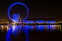 The London Eye (blue) At Night