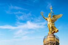 Siegessäule Mit Viktoria Statue Vor Blauem Himmel, Berlin, Deutschland