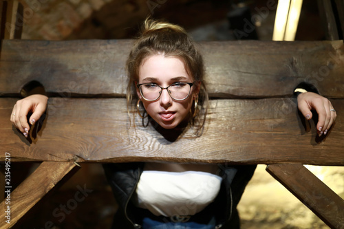 Girl in Pillory Canvas Print