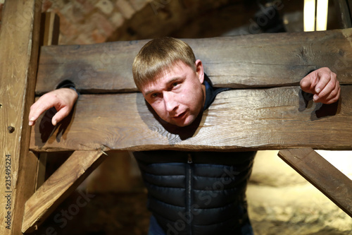 Photo Man in pillory