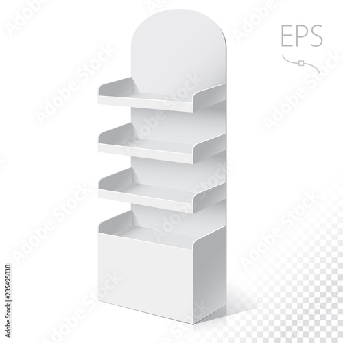 Fotografija White Round POS POI Cardboard Floor Display Rack For Supermarket Blank Empty Displays With Shelves Products On White Background Isolated