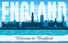 Bradford United Kingdom City Skyline Vector Silhouette