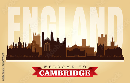 Foto Cambridge United Kingdom city skyline vector silhouette