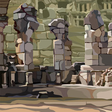 Painted Background Stone Ruins...
