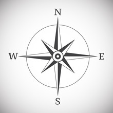Ancient Compass Vintage On Whi...
