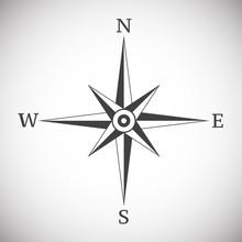 Wind Rose Compass Vintage On White Background Illustration