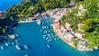 Leinwanddruck Bild - Beautiful sea coast with colorful houses in Portofino, Italy. Summer landscape