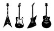 Vector silhouettes of Acoustic guitar and Electric guitars black color isolated on white.