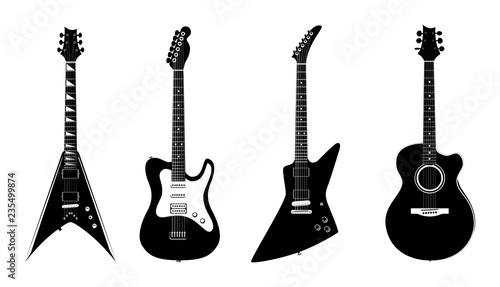Vector Silhouettes Of Acoustic Guitar And Electric Guitars Black
