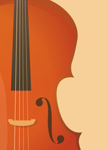 Vertical Banner In Retro Style With Fiddle, Violin Or Cello For Music Concert Or Festival, Symphony Performance.