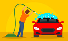 Man Wash Car Concept Backgroun...