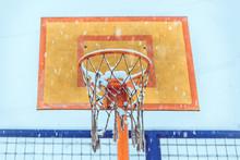 Basketball Basket On A Cloudy ...