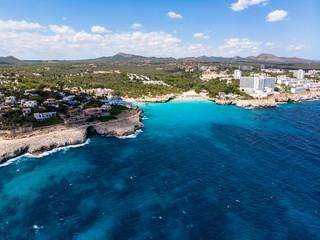 Aerial view, coast with hotels and villas, Cala Tropicana and Cala Domingos, Porto Colom region, Mallorca, Balearic Islands, Spain