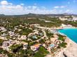 canvas print picture Aerial view, coast with hotels and villas, Cala Tropicana and Cala Domingos, Porto Colom region, Mallorca, Balearic Islands, Spain