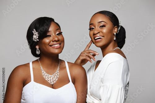 Slika na platnu Two happy and beautiful black skin woman