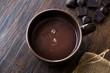 Homemade Spicy Hot Chocolate in Big Brown Cup