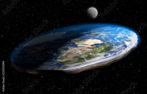 Flat Earth Theory 3D Illustration Wallpaper Mural