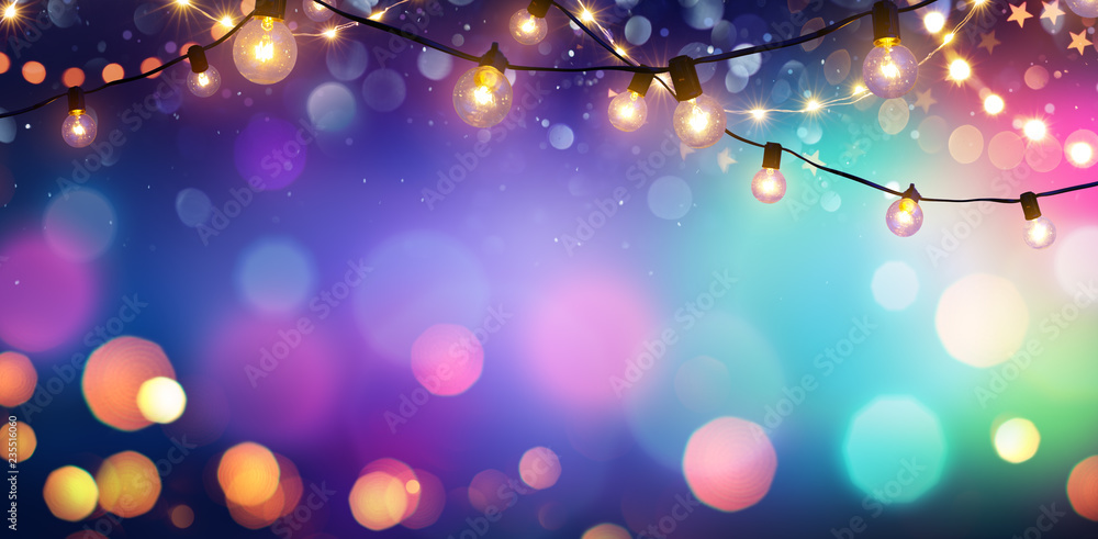 Fototapeta Party - Colorful Bokeh And Retro String Lights In Festive Background