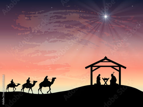 Leinwand Poster Christmas nativity scene of baby Jesus in the manger with Joseph and Mary
