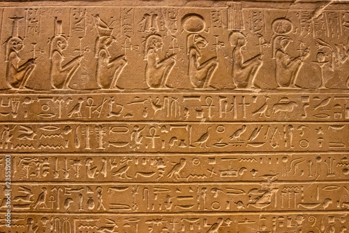 In de dag Egypte Old egypt hieroglyphs carved on the stone.