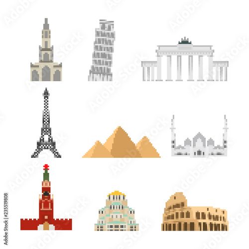 Landmark set pixel art  Collection attraction 8 bit  World