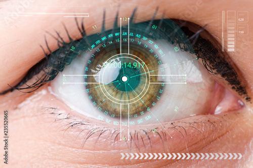 Photo sur Aluminium Iris Concept of sensor implanted into human eye