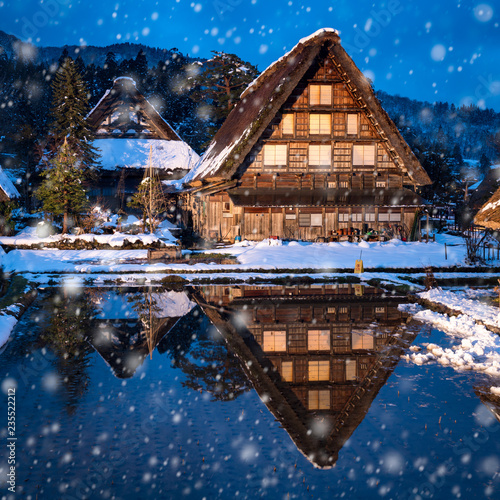 Foto op Canvas Asia land Dorf Shirakawago im Winter, Präfektur Gifu, Japan