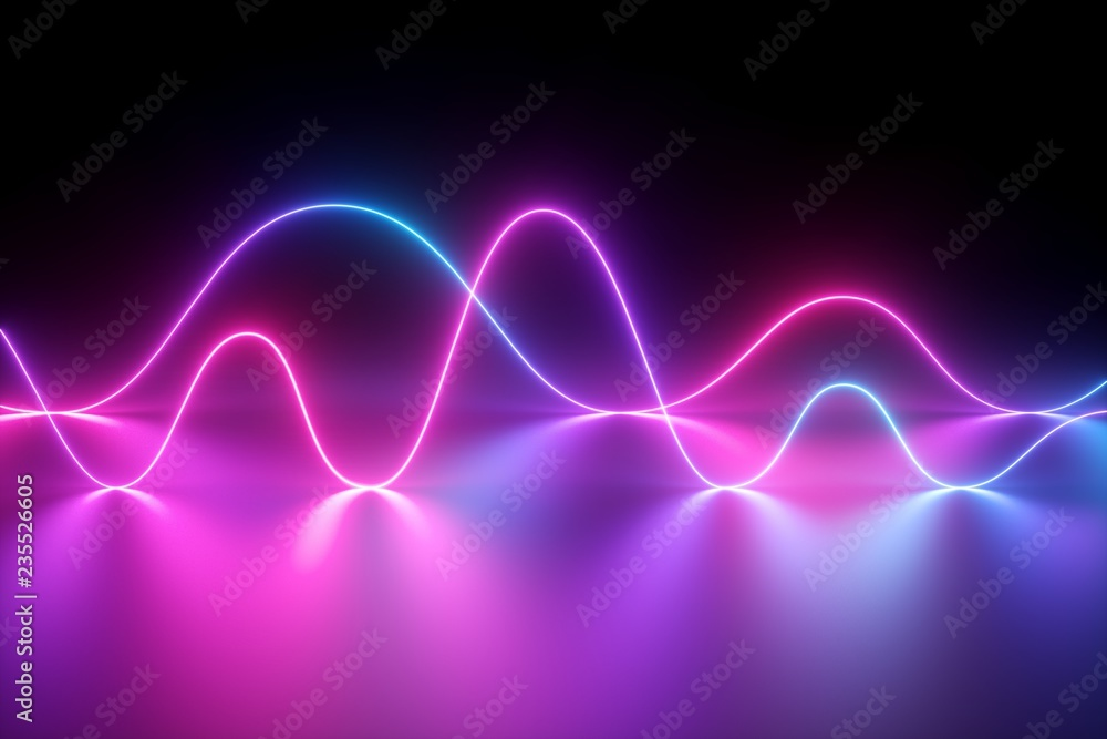 Fototapeta 3d render, neon light, laser show, impulse, chart, ultraviolet spectrum, pulse power lines, quantum energy, pink blue violet glowing dynamic line, abstract background, reflection