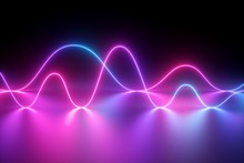 3d Render, Neon Light, Laser Show, Impulse, Chart, Ultraviolet Spectrum, Pulse Power Lines, Quantum Energy, Pink Blue Violet Glowing Dynamic Line, Abstract Background, Reflection