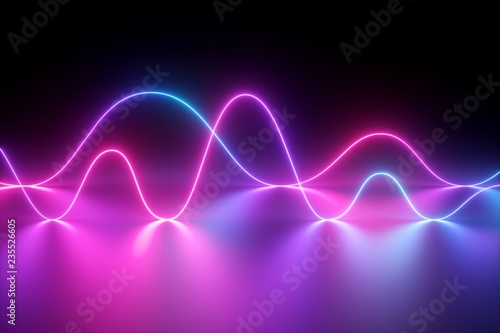 Fotobehang Abstract wave 3d render, neon light, laser show, impulse, chart, ultraviolet spectrum, pulse power lines, quantum energy, pink blue violet glowing dynamic line, abstract background, reflection