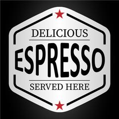 Fototapeta Do restauracji deliciuous espresso served here logo badge sticker