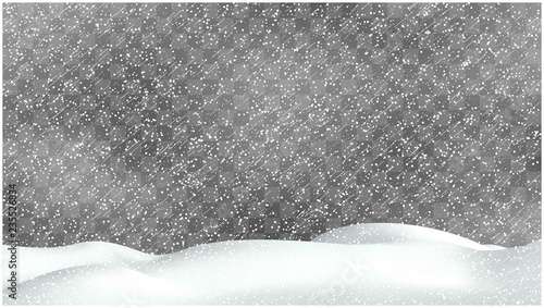 Fototapeta Realistic snow storm illustration. Vector snowdrift with falling snowflakes. Winter background. obraz