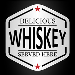 Panel Szklany Do kawiarni deliciuous whiskey served here logo badge sticker
