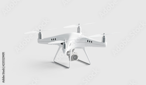 Blank white quadcopter mock up, stand isolated Wallpaper Mural