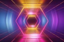 3d Render, Ultraviolet Neon Li...