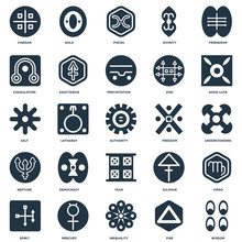 Elements Such As Wisdom, Fire, Inequality, Mercury, Spirit, Good Luck, Freedom, Year, Neptune, Coagulation, Pisces, Gold Icon Vector Illustration On White Background. Universal 25 Icons Set.