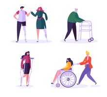 Disabled People Characters. Wo...