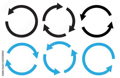 Obraz na plátně  Set of round arrows, black and blue colors. Vector illustration