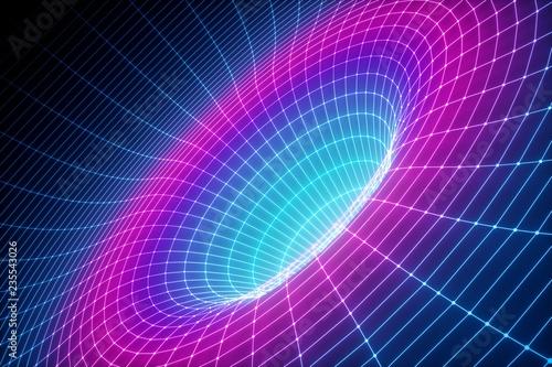 Fototapeta 3d render, abstract background, grid, ultraviolet spectrum, gravity, matter, spa