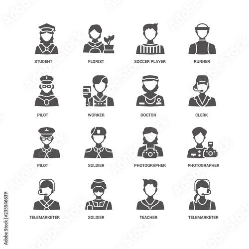 Telemarketer, Worker, Student, Florist, Photographer, Soldier, T