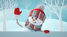 3d Render, Cute Snowman, Smiling, Waving Hand, Looking Aside, Holding Blank Banner, White Page, Christmas Background, New Year, Greeting Card, Space For Text, Winter Landscape