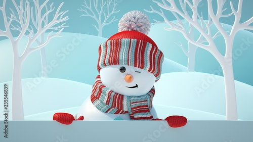3d-render-cute-snowman-blinking-smiling-looking-at-camera-holding-blank-banner-behind-white-page-christmas-background-new-year-greeting-card-space-for-text-winter-landscape