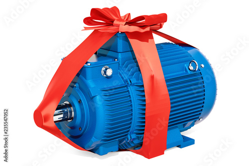 Photo Industrial electric motor with bow and ribbon, gift concept