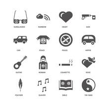 Yin Yang, Hippie, Peace, Feather, Dove, Sunglasses, Car, Guitar,