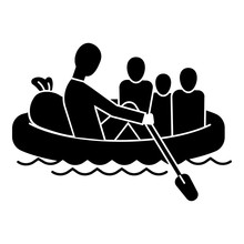 Migrant Family In Boat Icon. Simple Illustration Of Migrant Family In Boat Vector Icon For Web Design Isolated On White Background