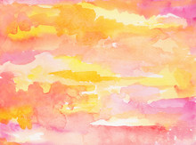 Watercolor Sky Background Wash With Sunrise And Sunset Clouds Painted In Pink Yellow Orange And Purple Colors On Watercolor Paper Texture