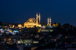 Süleymaniye Camii in Istanbul at night.