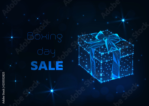 Boxing day sale banner with glowing low poly gift box with