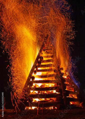 Flaming Bonfire Canvas Print