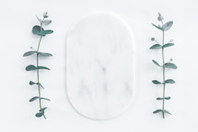 Marble Plate Framed By Eucalyptus Branches